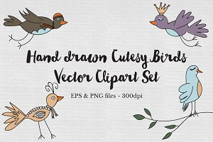 Hand drawn cutesy birds Vector set