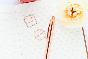 Stock Photo - Notebook, Flower, Pen