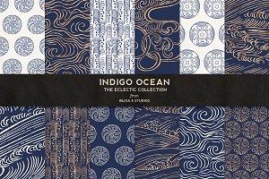 Indigo Ocean of Gold Japanese Waves
