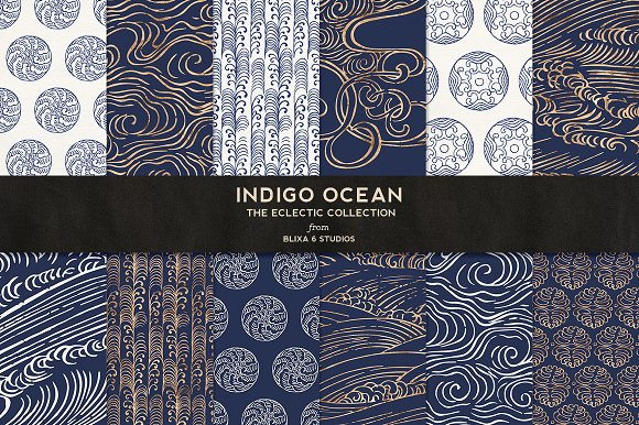 Indigo Ocean Of Gold Japanese Waves