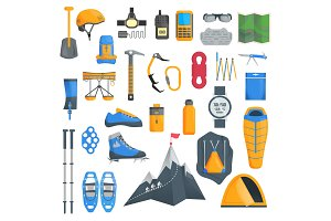 Mountaineering, a set of objects of equipment for climbing in the mountains. Vector illustration isolated on white background.