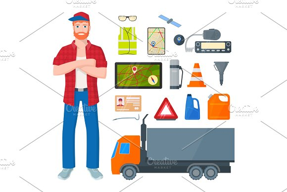 Trucker Man And Road Attributes And Tools Vector Illustration Isolated On White Background