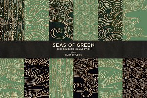Seas of Green & Rose Gold Waves