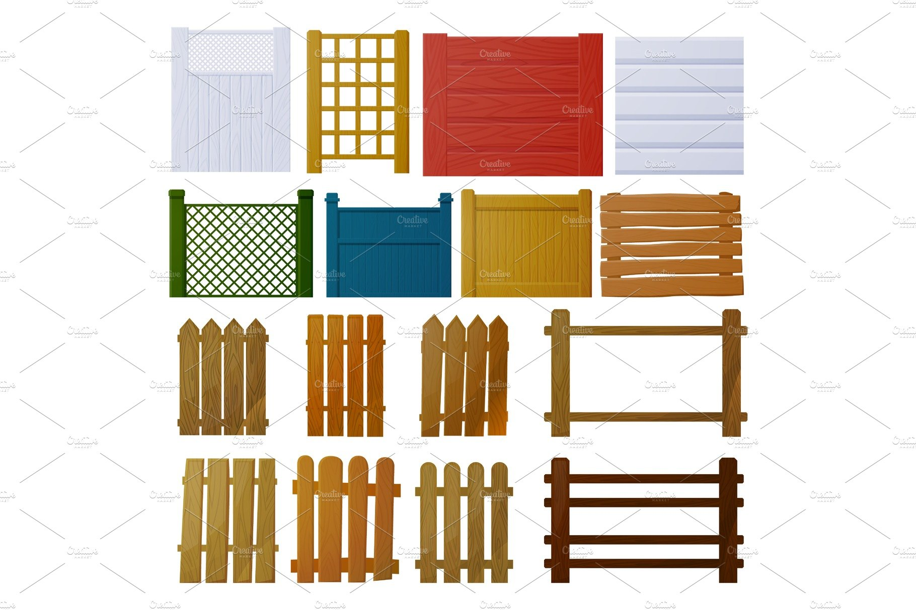 Vector Set Of Wooden Fence Elements For Design Wooden Fence Of