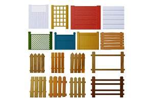 Vector set of wooden fence elements for design. Wooden fence of different design: fence, mesh, polished, poles, solid, with spaces.