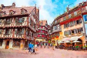 street in Colmar town, France