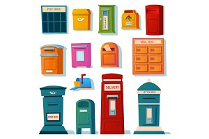 Vector set of mailboxes, letter boxes, pedestals for sending and receiving letters, correspondence, newspapers, magazines, bills. Vector illustration in a cartoon style.