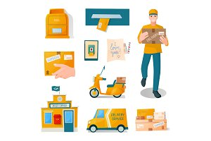 Postal fast free service delivery of parcels, correspondence, letters, parcels. Man delivery, man with a box. Post office, mail transport, boxes, envelopes, a box, a smartphone. Vector Cartoon flat