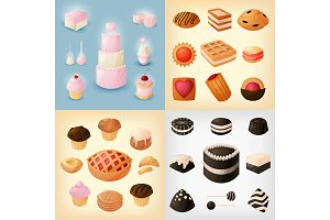 A set of icons of sweets, pastries, cookies for various holidays and celebrations. Flat vector illustration in cartoon style.