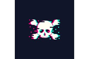 Skull illustration in trendy glitch style