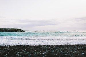 Seacoast in Black Sand Beach. Jokulsarlon seacoast.