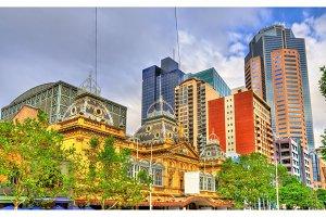 The Princess Theatre and skyscrapers in Melbourne, Australia