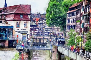 canals and streets in Strasbourg
