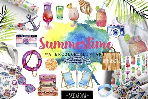 Summertime. Watercolor clip art.