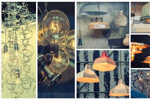 style of lamps, collage
