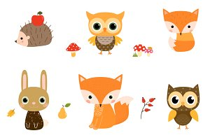 Cute Woodland Animal Clipart Set
