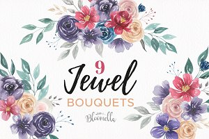 Jewel Bouquet Watercolor Florals