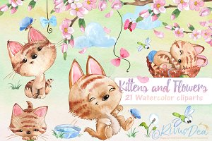 Spring Kittens watercolor set