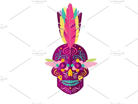 Punk Skull With Feather Mohawk