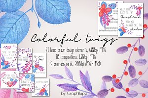 Colorful Twigs - Illustration Kit