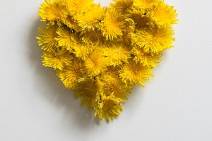 Dandelions forming a heart