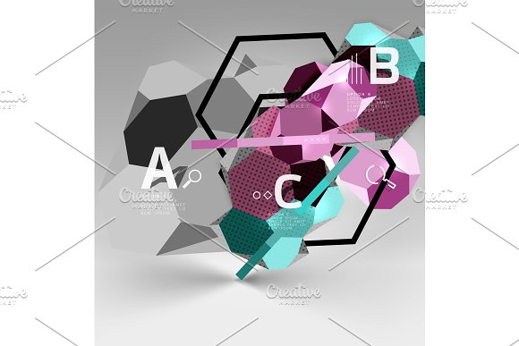 3D Hexagon Geometric Composition Geometric Digital Abstract Background