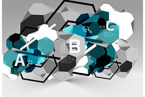 3d hexagon geometric composition, geometric digital abstract background