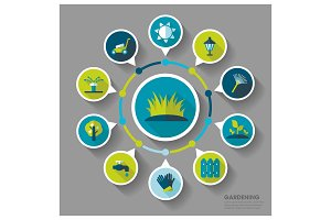 Garden Farm icons and agriculture infographics