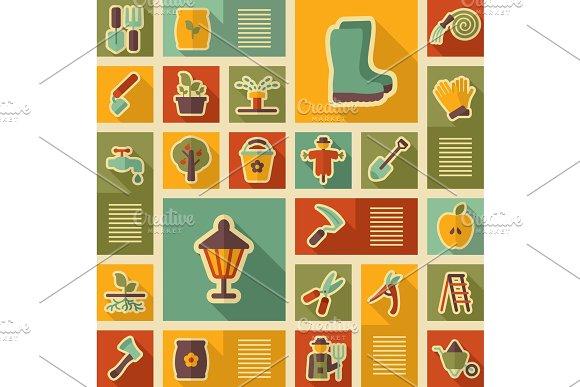 Garden Farm Icons Vector Set