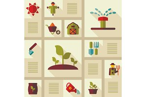 Garden Farm icons vector set