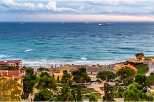 View of Mediterranean Sea and Roman Amphitheatre in Tarragona, Spain