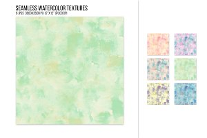 Seamless muted watercolor textures.