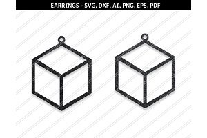 Cube earrings svg,dxf,ai,eps,png
