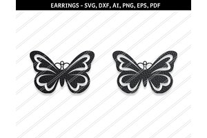 Butterfly earring svg,dxf,ai,eps,png
