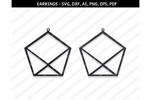 Pentagon earrings svg,dxf,ai,eps,png