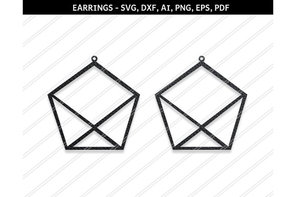 Pentagon earrings svg,dxf,ai,eps,png in Objects