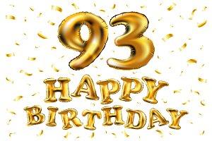happy birthday 93 balloons gold