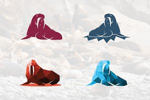 Walrus Fur Seal Silhouette Mascot
