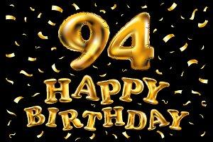 happy birthday 94 balloons gold