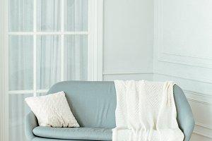 blue retro sofa in living room