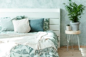 stylish spring bedroom interior