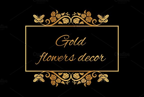 Set Of 33 Gold Flowers Decor