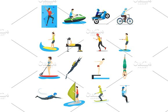 Extreme Sports People Set