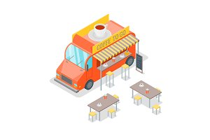 Street Cafe Food Truck Isometric