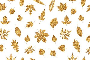 Gold various leaves on white
