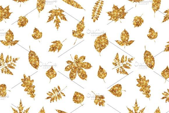 Gold Various Leaves On White