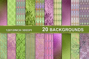 20 BRIGHT TEXTURES GREEN PINK