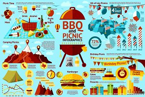BBQ and Picnic infographics set
