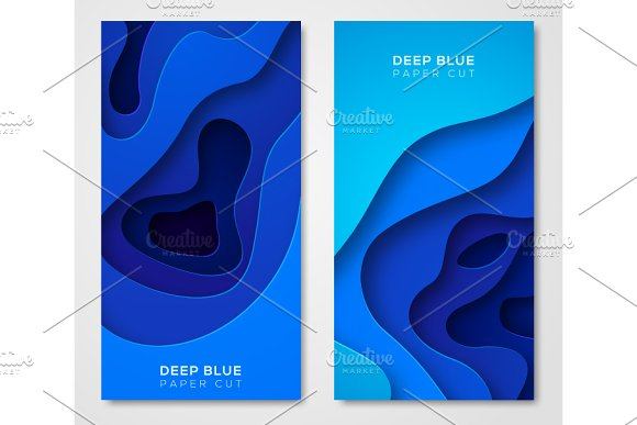 Vertical Banners With Abstract Blue