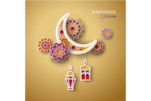Islamic crescent with lanterns